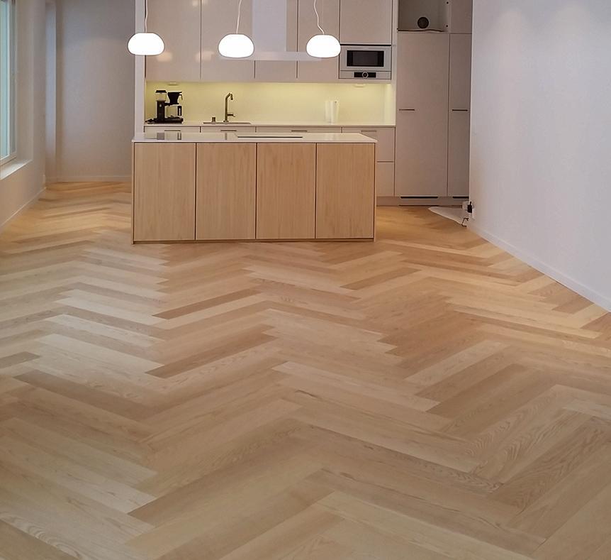 Saarni Ash Classic Herringbone Sand Waxoil Kitchen