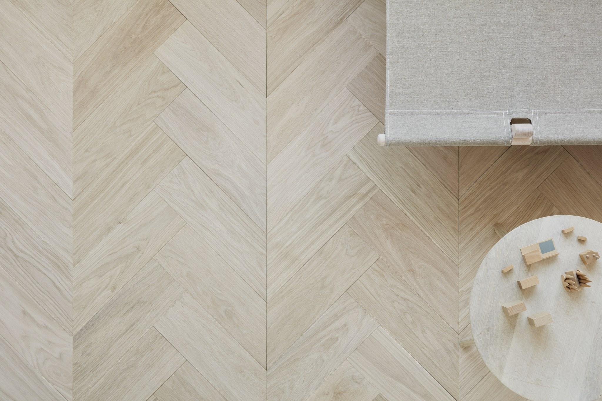 Timberwise Tammi Oak Design Floor ChevBone NORDIC Hiottu Sand Oljyvahattu Waxoil Vaaka